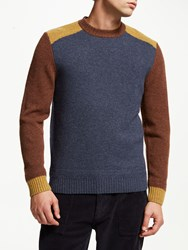 John Lewis And Co. Colour Block Crew Neck Wool Jumper Navy