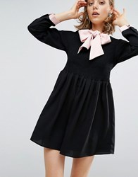 Sister Jane Dress With Satin Tie Up Bow Black