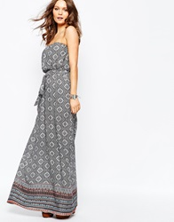 New Look Aztec Printed Bandeau Maxi Dress Bluepattern