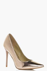 Boohoo Pointed Stiletto Court Rose Gold