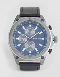 Police Contact Mens Watch Black Leather Strap With Blue Multi Functional Dial Black