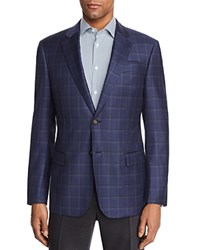 Emporio Armani Large Check Regular Fit Sport Coat Blue