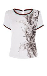 Karen Millen Tropical Print T Shirt White