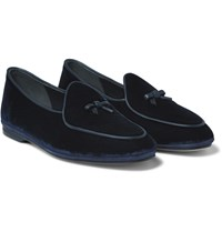 Rubinacci Marphy Leather Trimmed Velvet Loafers Blue