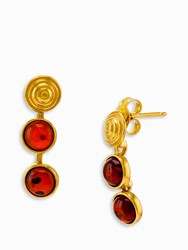 Be Jewelled Shell Detail Amber Drop Earrings Gold Cognac