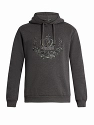 Dolce And Gabbana Crown Embroidered Hooded Cotton Blend Sweatshirt Grey