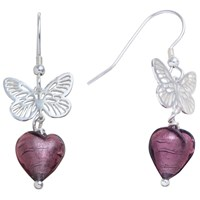 Martick Sterling Silver Butterfly Murano Glass Heart Earrings Plum