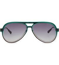 Kris Van Assche Kva78 Straight Browline Aviator Sunglasses Green And Clear
