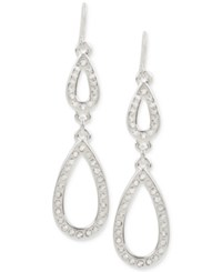 Touch Of Silver Pave Double Teardrop Drop Earrings In Plate Silver