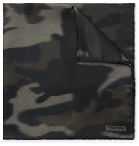 Tom Ford Camouflage Print Silk Twill Pocket Square Green