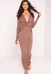 Missguided Twist Front Maxi Dress Brown Grey