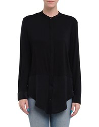 Three Dots Long Sleeve Shirt Tunic Black