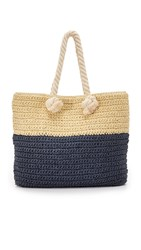 Hat Attack Bi Color Tote Navy Natural