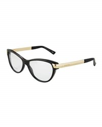 Gucci Two Tone Cat Eye Optical Glasses Black Gold