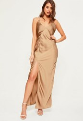 Missguided Gold Silky Plunge Maxi Dress