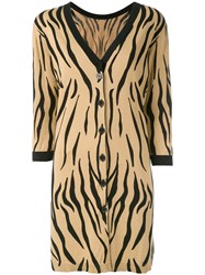 Twin Set Oversized Tiger Print Cardigan Women Cotton Polyester Viscose S Nude Neutrals