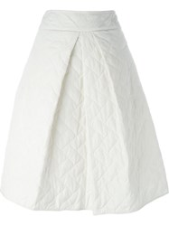 Jil Sander Navy A Line Quilted Skirt White