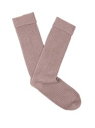 Pepper And Mayne Ribbed Knit Cashmere Socks Light Pink