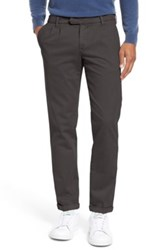 Eleventy Slim Fit Double Pleat Flannel Trousers Gray