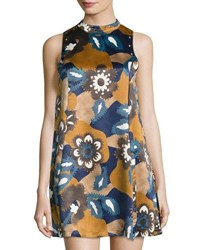 Moon River Mock Neck Floral Skater Dress Camel