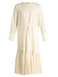 Brock Collection Dorraine Pleated Panel Cotton Blend Midi Dress White