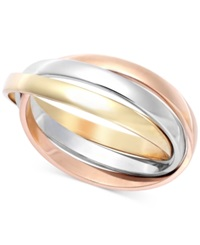 Macy's Tri Tone Ring In 14K Rose Yellow And White Gold