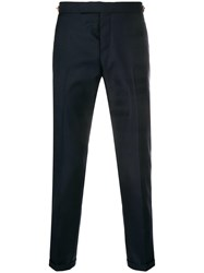 Thom Browne Sateen 4 Bar Skinny Fit Trouser Blue