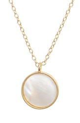 Argentovivo Argento Vivo Mother Of Pearl Circle Pendant Necklace Gold