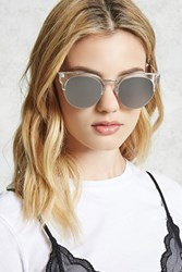 Forever 21 Mirrored Cat Eye Sunglasses Clear Silver