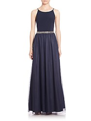 Aidan Mattox Embellished Combo Bridesmaid Gown Navy