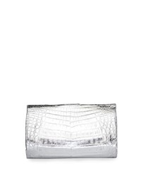 Nancy Gonzalez Metallic Crocodile Slim Frame Clutch Bag Silver