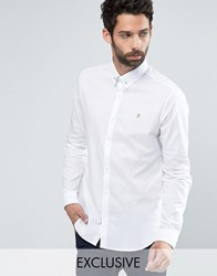 Farah Shirt With Collar Bar In Slim Fit With Stretch White