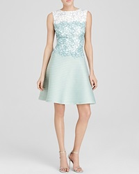 Tadashi Shoji Dress Sleeveless Color Block Lace And Pintuck Fit And Flare Mint