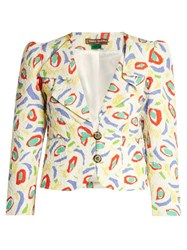 Duro Olowu Abstract Bird Print Cloque Jacket White Multi