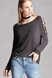 Forever 21 Lace Up Dolman Top