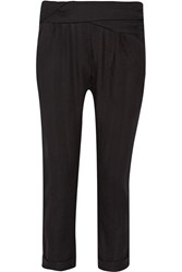 Hatch Randall Draped Cotton Twill Tapered Pants Black