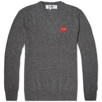 Comme Des Garcons Play V Neck Jumper Grey