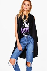Boohoo Darcey Waterfall Sleeveless Suedette Duster Black