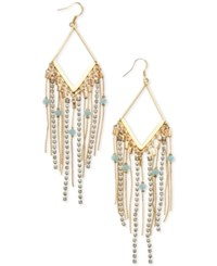 Guess Gold Tone Blue Bead And Crystal Fringe Drop Earrings