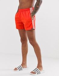 Adidas Swim Shorts With Stripes In Red