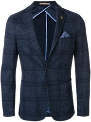 Paoloni Checkered Blazer With Pocket Square Cotton Viscose Wool Blue