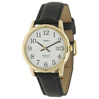 Timex Core Easy Reader Black Leather Strap Gold Case White Dial Watches