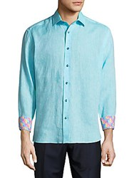 Bertigo Long Sleeve Button Down Shirt Aqua