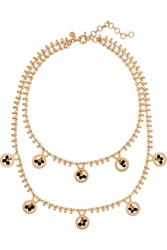 J.Crew Dangling Gold Plated Crystal Necklace