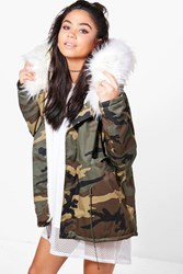 Boohoo Short Camo Faux Fur Lined Parka White