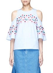 Peter Pilotto Floral Crochet Lace Cotton Cold Shoulder Blouse Blue Multi Colour