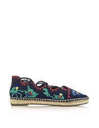 Tory Burch Sonoma Navy Embroidered Ghillie Canvas Flat Espadrilles Navy Blue