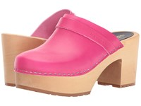 Swedish Hasbeens Louise Neon Pink Women's Clog Shoes