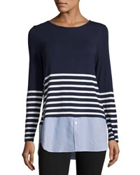 Neiman Marcus Mixed Media Striped Tee Blue Pattern