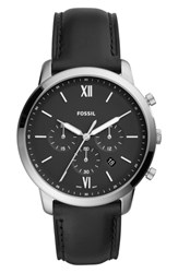 Fossil Neutra Chronograph Leather Strap Watch 44Mm Black Black Silver